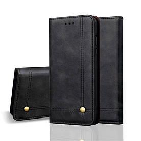 Чехол книжка для Huawei P Smart Plus | Nova 3i боковой с отсеком для визиток, Crazy Horse, черный
