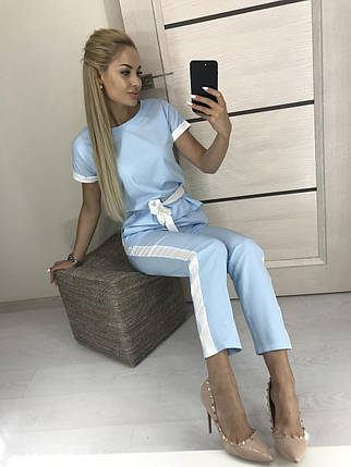 Голубой брючный костюм женский, фото 2