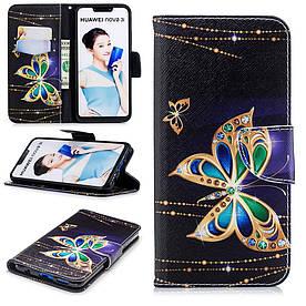 Чехол книжка для Huawei P Smart Plus | Nova 3i боковой с отсеком для визиток, Золотая бабочка