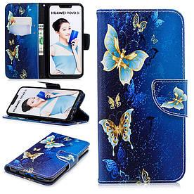Чехол книжка для Huawei P Smart Plus | Nova 3i боковой с отсеком для визиток, Волшебные бабочки