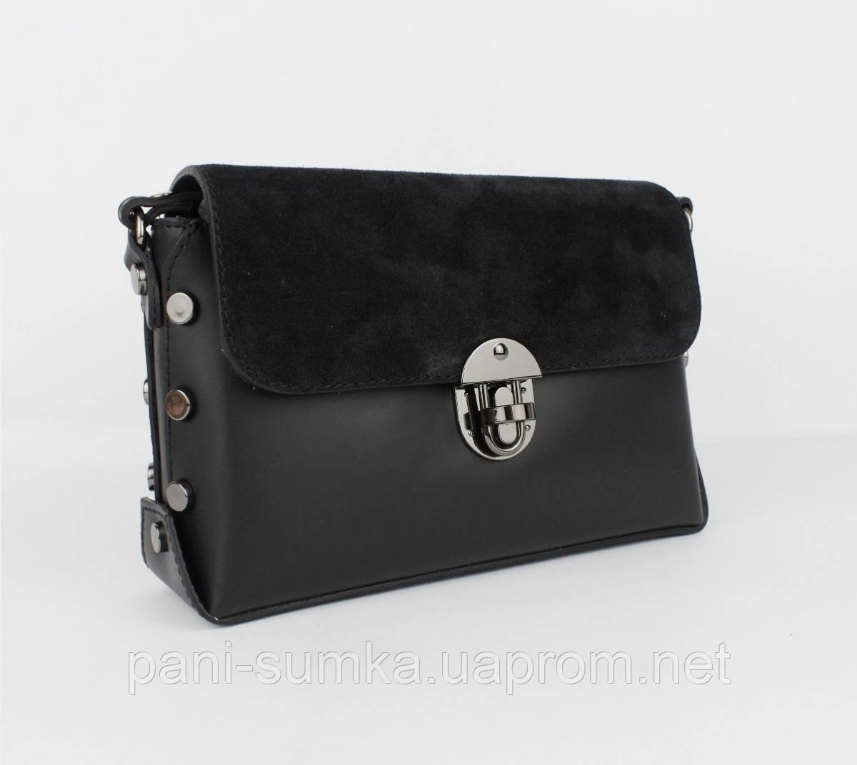 ec6064fa2d87 Кожаная сумочка с замшевым клапаном Borse in pelle 323908-1 черная, Италия,  фото