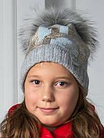 Модная, Суперстильная, Зимняя Шапочка Для Девочки Серого Цвета С Натуральным Мехом Енота Trestelle Италия