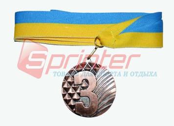 Медаль наградная с лентой, d - 5 см.(ромб) 3 место 5200-12
