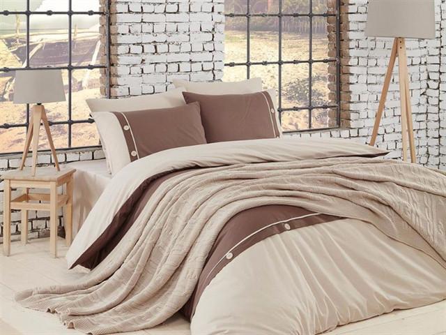 Набор постельное белье + вязаное покрывало  First Choice Nirvana Raina Ekru