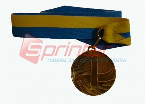 Медаль наградная с лентой, d - 5 см.(волна) 1 место 5200-13