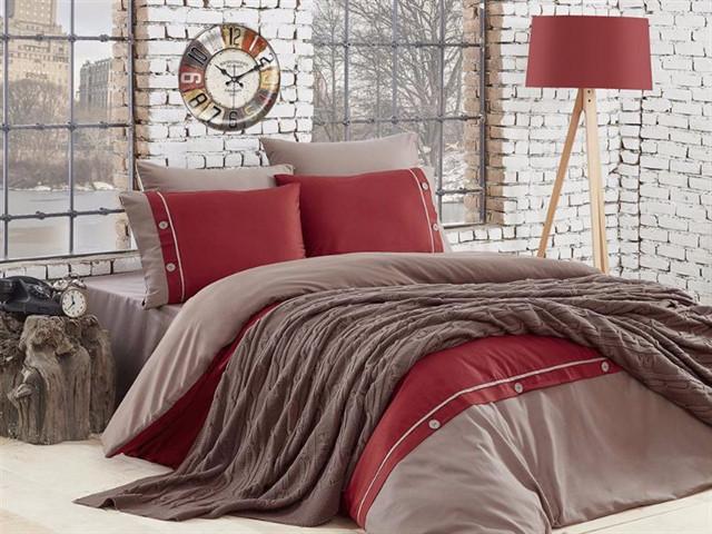Набор постельное белье + вязаное покрывало  First Choice Nirvana Raina Vizon