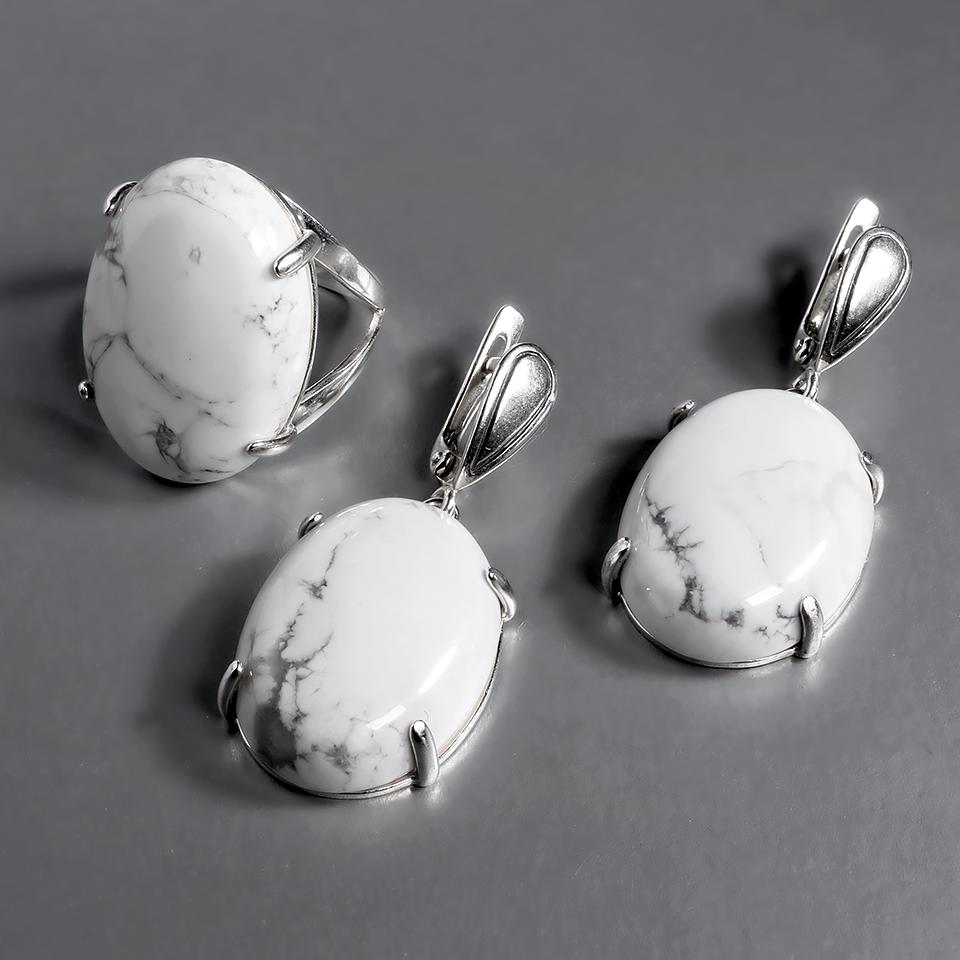 Купить Кахолонг, 25*18 мм., серебро 925, комплект кольцо и серьги ...