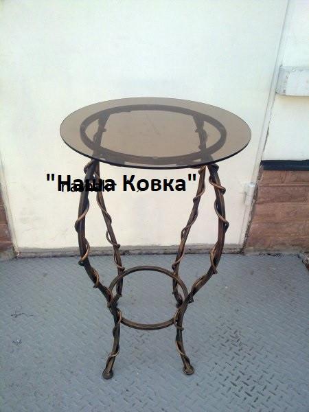 Кованный стол круглый стеклянная столешница