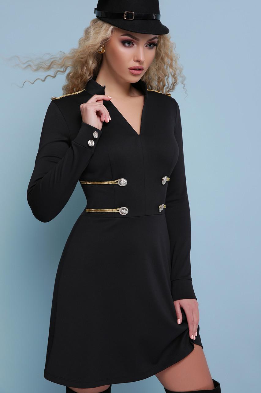 Трикотажное платье короткое черное