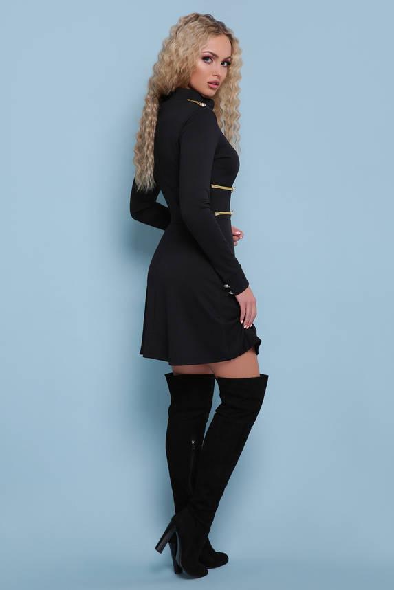 Трикотажное платье короткое черное, фото 2