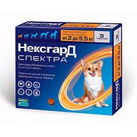 Таблетка от клещей, блох и глистов Нексгард Спектра (NexGard Spectra) для собак 2-3.5 кг (XS), 3 табл. в уп.