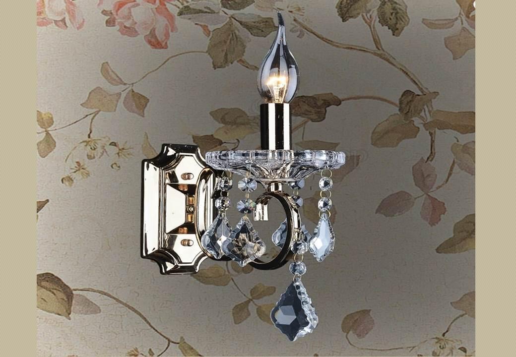 Бра классическое настенное LV на одну лампу свечу с подвесками