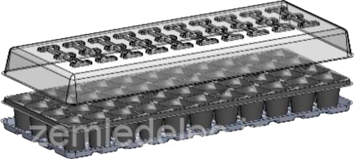 Кассета для рассады Парничек 44 ячейки (комплект 3 в 1) ХозПром
