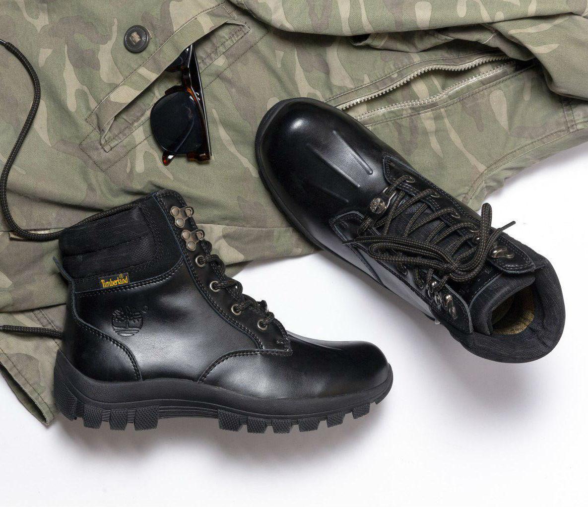 8deb5c33 Timberland Leather Black | мужские ботинки; черные; кожаные; без меха