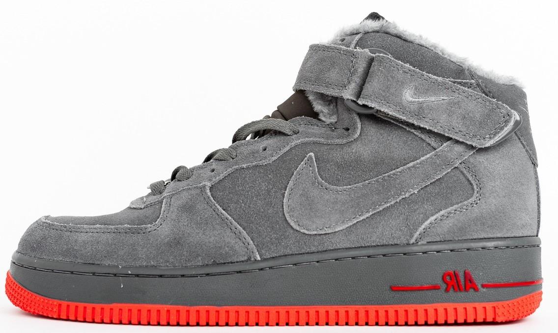 "Мужские зимние кроссовки Nike Air Force ""Gray/Rad"" (в стиле Найк) с мехом"
