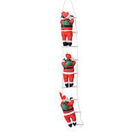 Новогодние Фигуры Деда Мороза 35 см на лестнице 1,2 метр - фигурки Санта Клауса