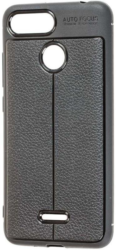 Чехол накладка для Xiaomi Redmi 6 TPU Имитация кожи Черный
