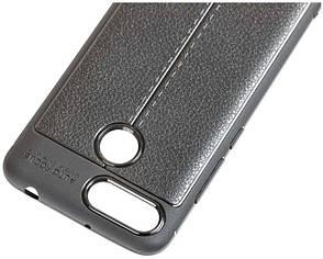 Чехол накладка для Xiaomi Redmi 6 TPU Имитация кожи Черный, фото 2