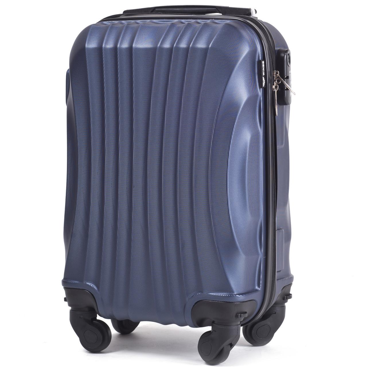 Микро пластиковый чемодан Wings 159 на 4 колесах синий