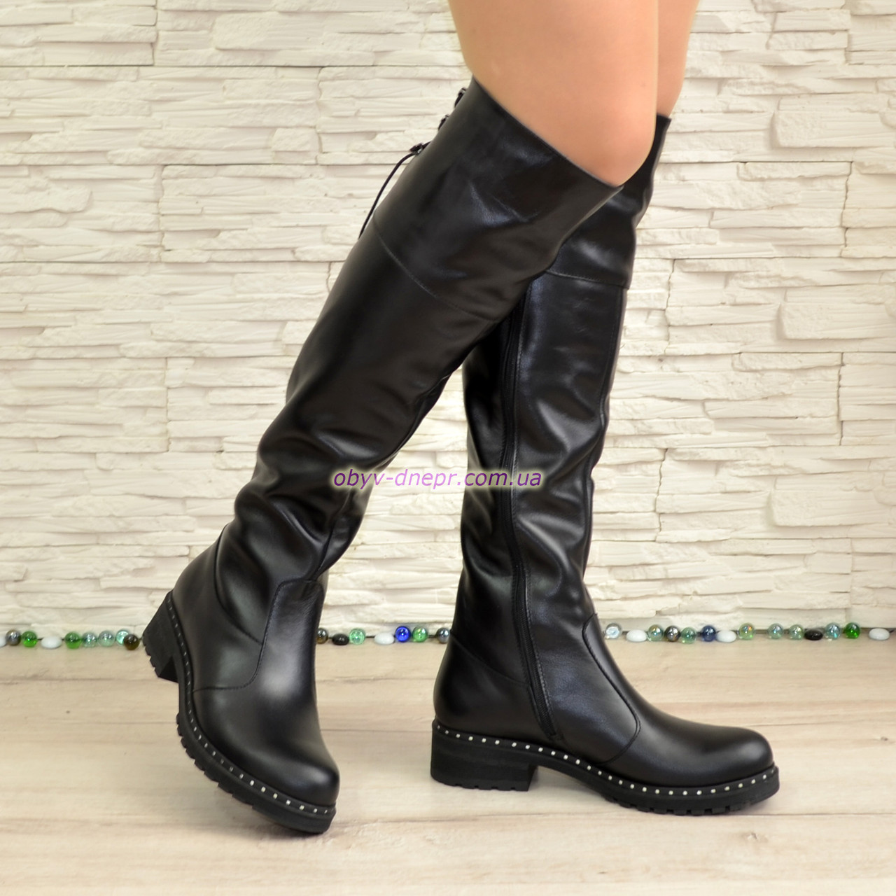 Ботфорты женские черные кожаные демисезонные на утолщенной подошве