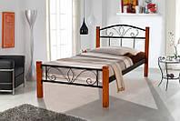 Металлическая односпальная кровать Релакс Вуд 90х200, цвет черный, ножки дерево цвет орех