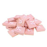 """Подарочная коробочка """"Сердечки с бантом персиковый 9 х 9 х 2,5 см"""" для набора"""