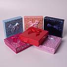 "Подарочная коробочка ""Сердечки с бантом персиковый 9 х 9 х 2,5 см"" для набора , фото 2"