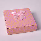 "Подарочная коробочка ""Сердечки с бантом персиковый 9 х 9 х 2,5 см"" для набора , фото 3"