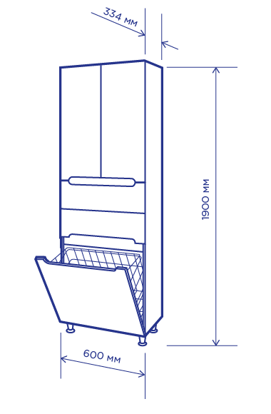 Чертеж мебели для ванных комнат Пик (артикул товара: П11К60В)