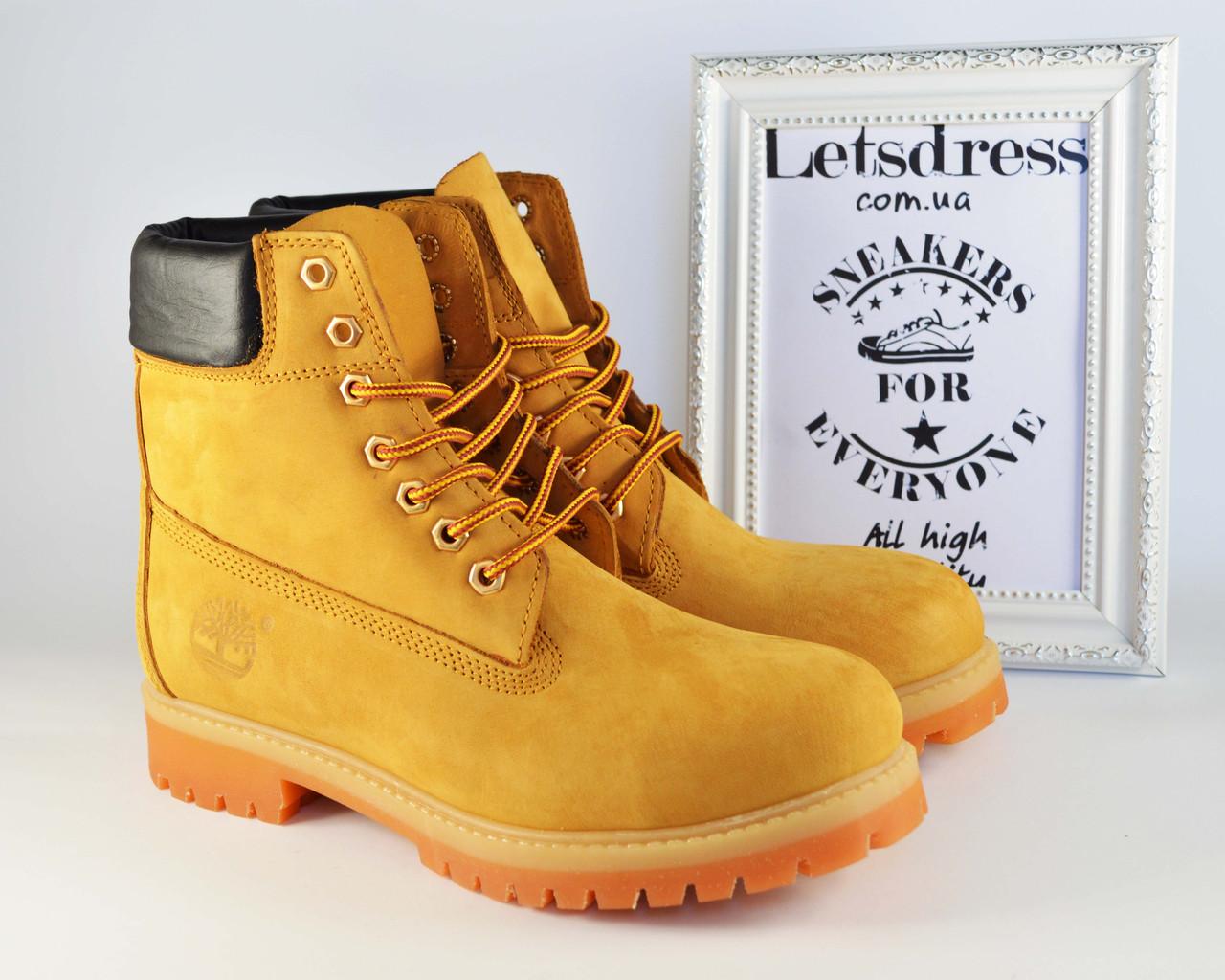 ✅ Мужские кожаные ботинки Timberland Classic  ТЕРМО 6 inch Yellow Тимберленд желтые бежевые