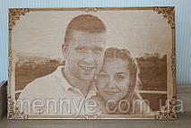 Свадебный портрет по фотографии на дереве