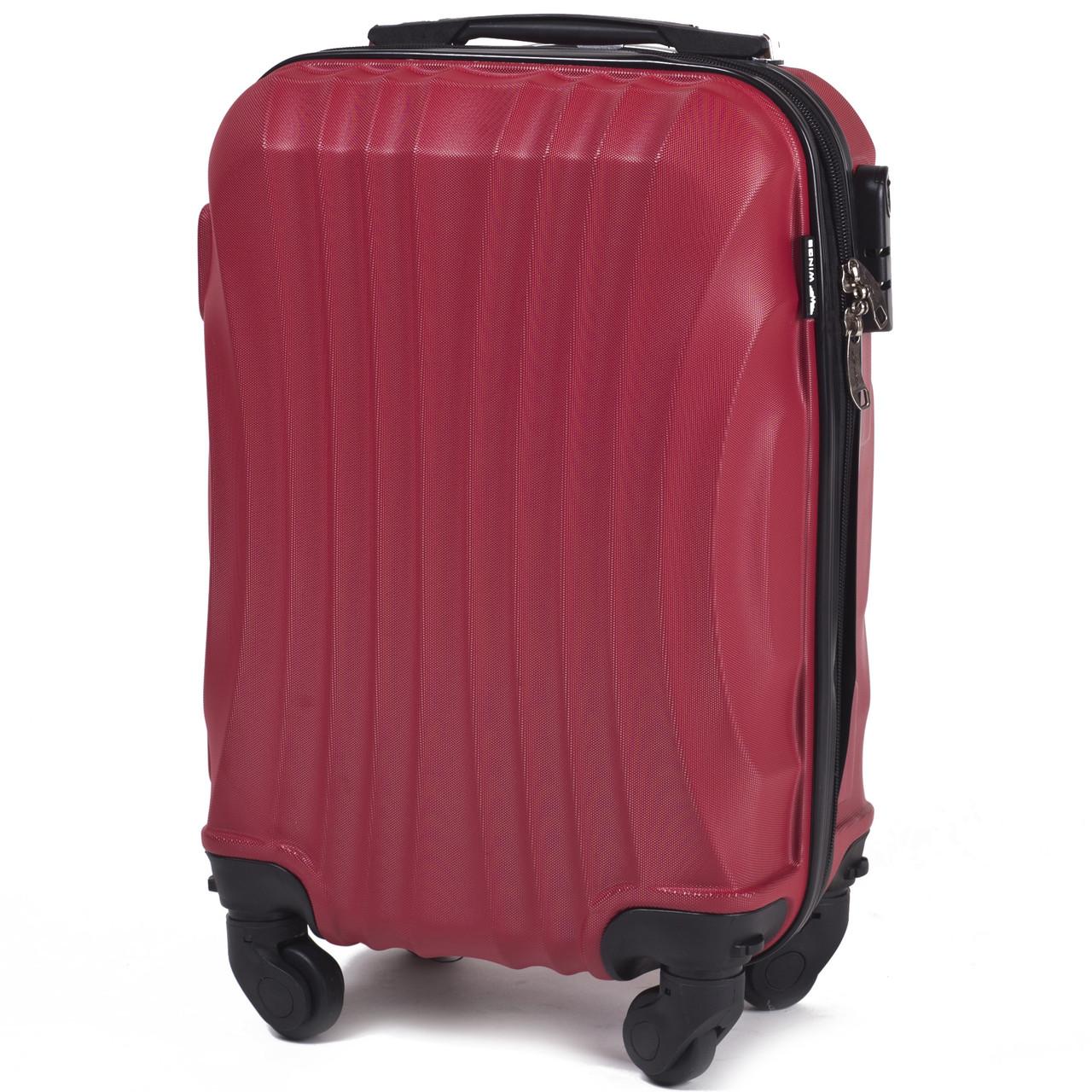 Микро пластиковый чемодан Wings 159 на 4 колесах красный