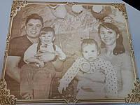 Эксклюзивный подарок выжигание портрета на дереве под заказ лазерной гравировкой, фото 1