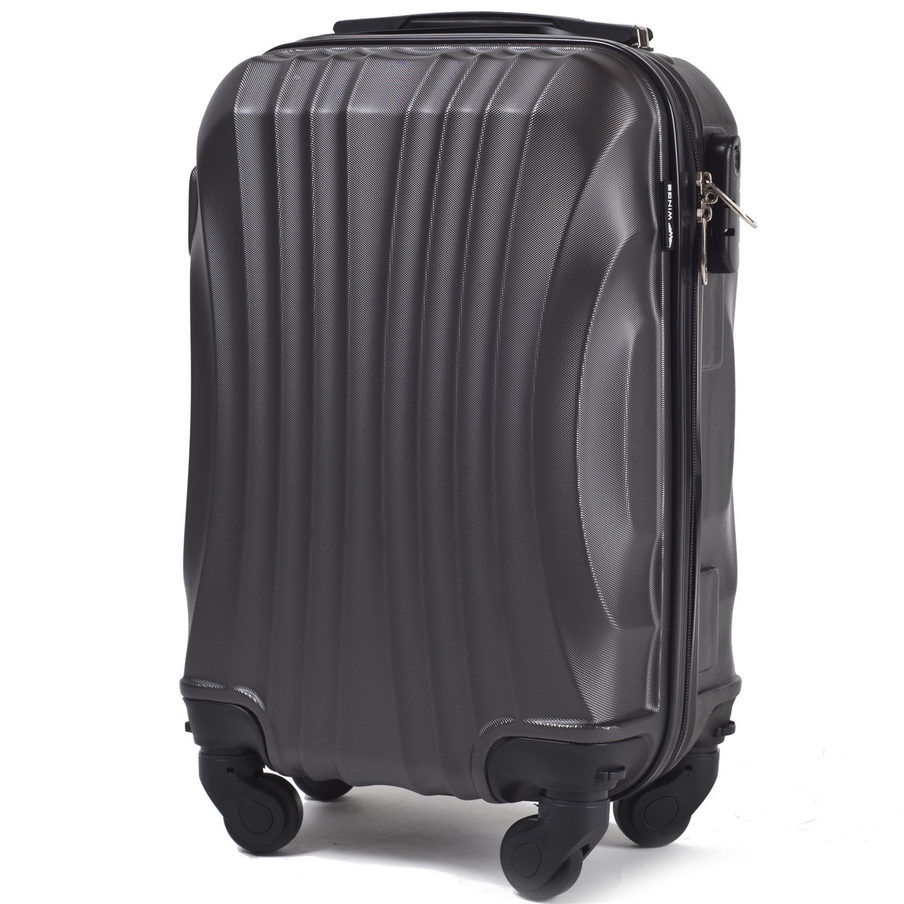 Микро пластиковый чемодан Wings 159 на 4 колесах серый