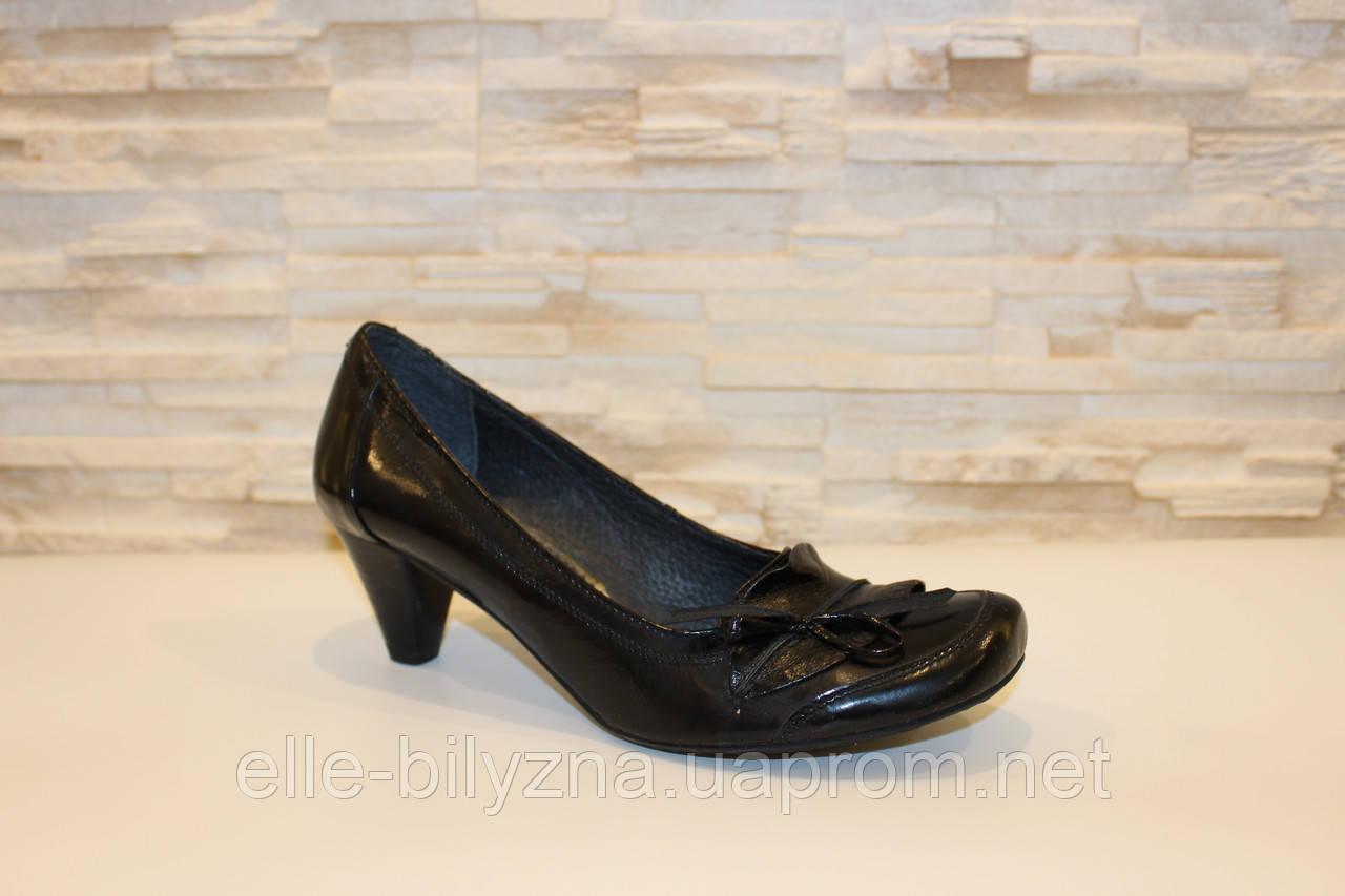 Туфли женские черные на каблуке натуральная кожа Т42