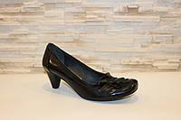 Туфли женские черные на каблуке натуральная кожа Т42, фото 1