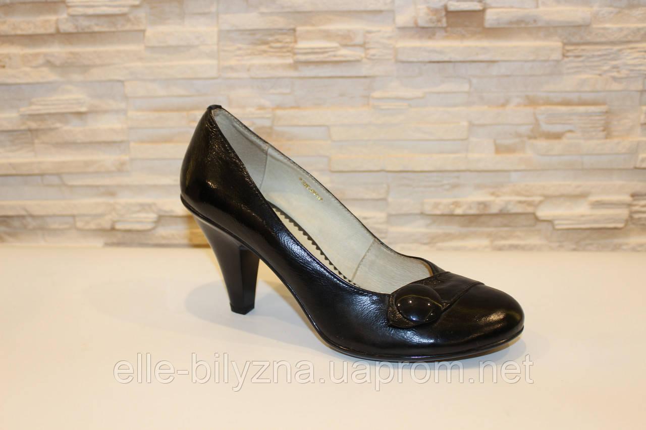 Туфли женские черные на каблуке натуральная кожа Т71