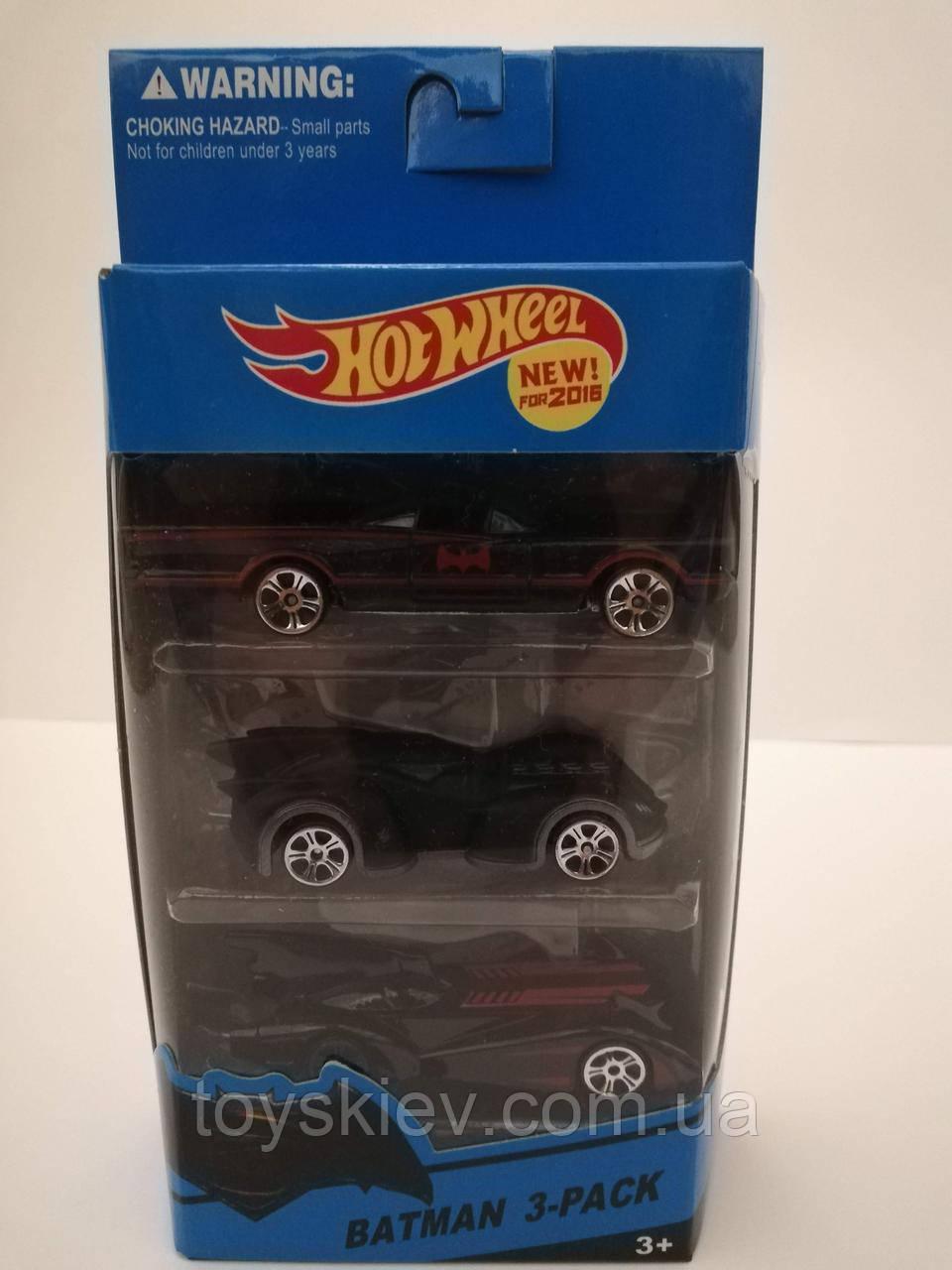 Подарочный набор из 3 машинок Хот Вилс, Hot Wheel аналог (Batman) 999-1
