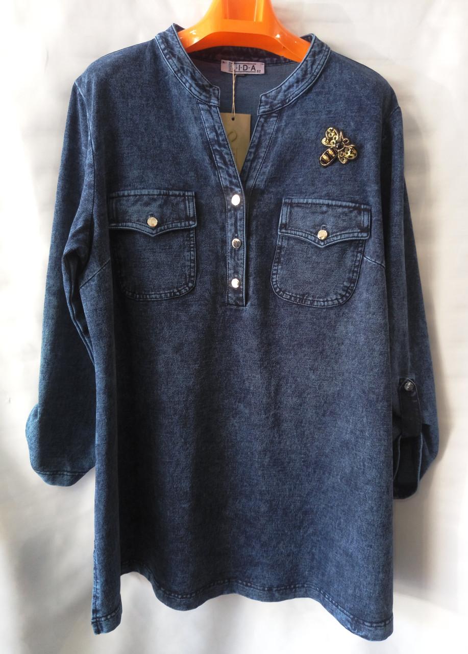 Рубашка/ батник (джинс-трикотаж) женская батальная (L-I-D-A)