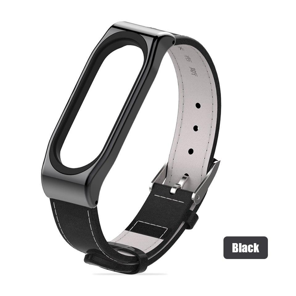Ремешок Xiaomi Mi Band 4 / 3 MiJobs кожаный Черный [1697]