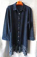 Рубашка удлинённая/ туника (джинс-трикотаж) женская батальная (L-I-D-A)
