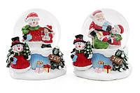"""Декоративный водяной шар """"""""Снеговик с подарками 9 см, 2 вида (6шт. в упаковке)"""