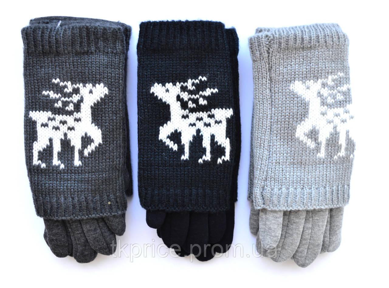 Подростковые трикотажные перчатки для девочек  - длина 19-20 см