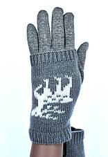 Подростковые трикотажные перчатки для девочек  - длина 19-20 см, фото 3