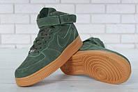 """Зимние мужские кроссовки Nike Air Force Suede Hi """"Зеленые"""" высокие р. 40-46, фото 1"""