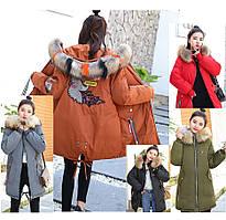 Молодёжная женская стильная зимняя куртка парка с манжетом капюшон с цветным мехом