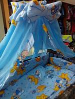 Постельное бельё в детскую кроватку Мишки со звёдочками голубое 8 элементов, фото 1