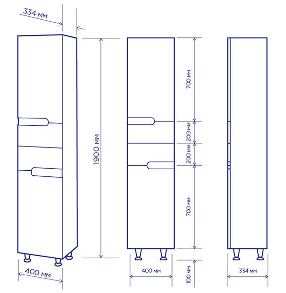 Чертеж мебели для ванных комнат Пик (артикул товара: П1140МL)