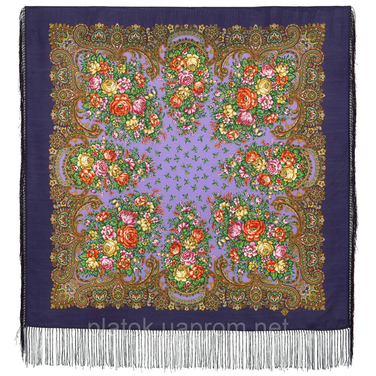 Душистый луг 1830-15, павлопосадский платок шерстяной  с шелковой бахромой
