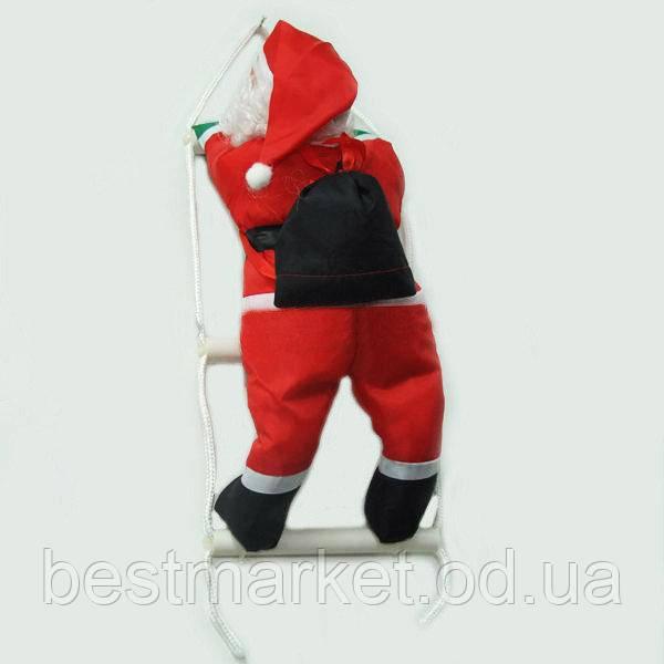 Новогодняя Игрушка Подвесной Санта Клаус с Мешком Лезет по Лестнице 60 см (2319 - 24)